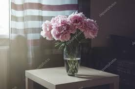 Flowers Glass Vase Beautiful Fresh Bouquet Of Pink Peonies Roses Flowers In Glass