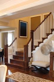 oak stairs with box newels and square white balusters
