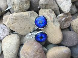 dark blue opal fashion earrings country heartstrings