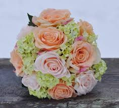 hydrangea wedding bouquet coral and pink with green hydrangea wedding bouquet made of