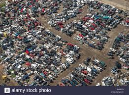 car junkyard michigan auto junkyard aerial view stock photo royalty free image