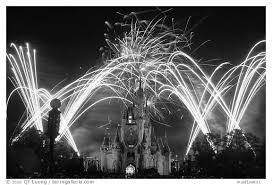 black white picture photo night fireworks cinderella castle