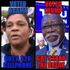 Tax Money Meme - obama voters received free cell phones while trump voters received