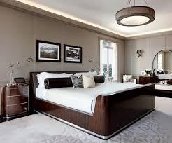 Impressive Room Design Interior Elegant Bedroom With Solid Headboard And Beige Linen Bed