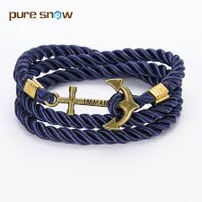 anchor braided bracelet images 2017 new arrive diy rope black blue anchor bracelet free jpg