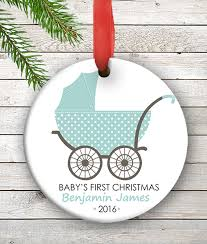personalized baby s ornament blue baby carriage