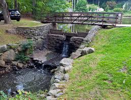 backyard bridge over creek home outdoor decoration