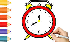 coloring pages clock for kids u0026 drawing for children how to