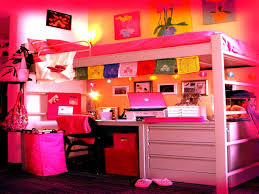 White Wood Loft Bed With Desk by White Painted Pine Wood Loft Bed With Pink Corner Desk And Folding