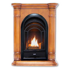 dual fuel ventless fireplace corner combo in apple spice finish