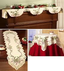 Holiday Table Runners by Amazon Com Embroidered Holiday Hollyberry Table Linens Runner