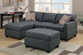 Sofa With Reversible Chaise Lounge by Blue Grey Fabric Reversible Chaise Sectional Sofa With Ottoman
