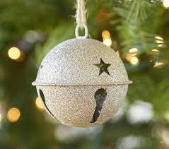 glitter jingle bell ornament pottery barn