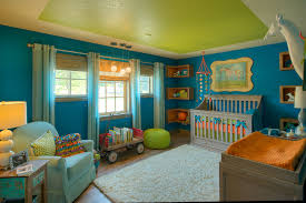 crib and changing table combo in nursery eclectic with bookshelf
