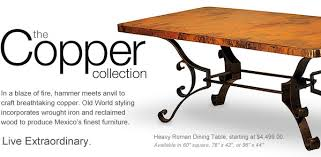 Copper Dining Room Tables Copper Reclaimed Wood Furniture Collection