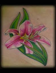 small green pink stargazer lily tattoo tattoomagz