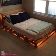 Higher Bed Frame Light Up Pallet Bed Frame I Would Use One More Row Of Pallets To