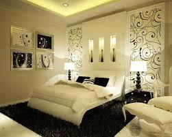 romantic bedroom ideas rectangle mirror purple bed wooden floor