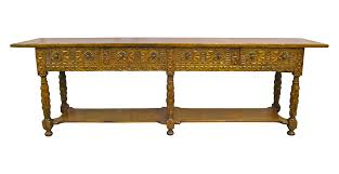 spanish carved chestnut console table chairish