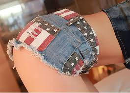 American Flag Jean Shorts Men Chouyatou Women U0027s Low Rise American Flag Print Daisy Duke Ripped