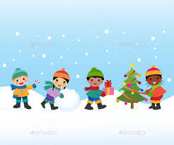 children celebrate the winter holidays by osk222 graphicriver