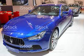 maserati quattroporte 2015 blue maserati ghibli luxury saloon car and maserati quattroporte stock
