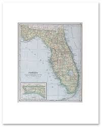 Vintage Florida Map by States A G Vintage Maps