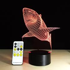 yeduo shark tooth 3d led night light acrylic colorful kids baby