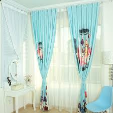 Teal Nursery Curtains Blue Cartoon Patterned Cotton Kids Room Nursery Curtains