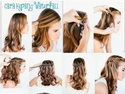 tutorial rambut tutorial kepang rambut air terjun merahputih