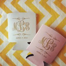 custom wedding koozies preppy monogram wedding can cooler wedding favors scroll