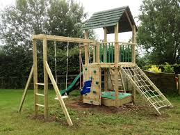 outstanding wooden castle tower outdoor playhouse design with