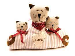 mother and 2 kitten door stop pink red 35x7x28cm easycare