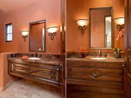 painting orange bathroom decor with mediterranean powder room in