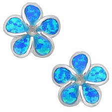 blue opal earrings blue s s and opal flower stud earrings anjasmagicbox co uk