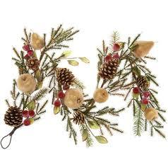 4 golden glittered beaded fruit pinecone garland qvc