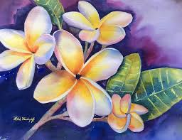 plumeria flower yellow plumeria flowers painting by hilda vandergriff