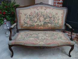 Large Armchair Loveseat Antique French Carved Oak Louis Xv Settee Sofa Bench Aubusson