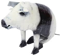 recycled metal sitting pig black and white rustic garden