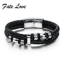 bracelet man silver stainless steel images 2017 fashion black double layer braided leather bracelet men jpg