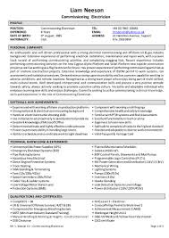 Resume Of An Electrician Cv Sept 2015 Mr L Neeson Commissioning Electrician