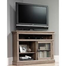 corner tv stand with glass doors sauder barrister lane salt oak storage entertainment center 414729