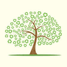 illustration of vector tree with recycle symbol as leaves stock