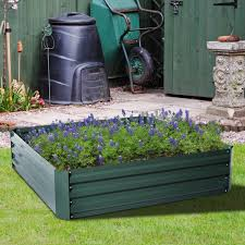 Raised Patio Planter by 4x4 Ft Raised Metal Garden Bed Patio Backyard Flower Vegetable