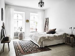 scandinavian boho white neutral bedroom with textured accents