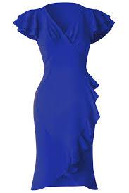 dear lover blue 50s flutter sleeves wrap ruffled vintage dress