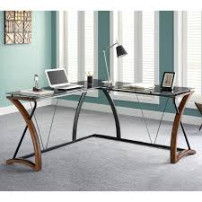 modern glass work desk 66 most killer all glass desk with shelves l shaped computer small