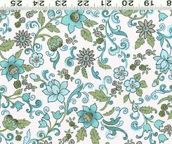 Daisy Kitchen Curtains by Gypsy In Aqua Blue Cw Floral Fabric Tulips Daisies Flowers And