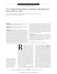 use of retinal procedures in medicare beneficiaries from 1997 to