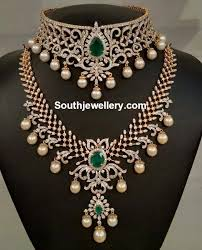 diamond set bridal diamond necklace and haram set jewellery designs